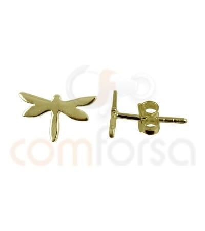 Pendiente libélula 9.3 x 5.4mm plata chapada en oro