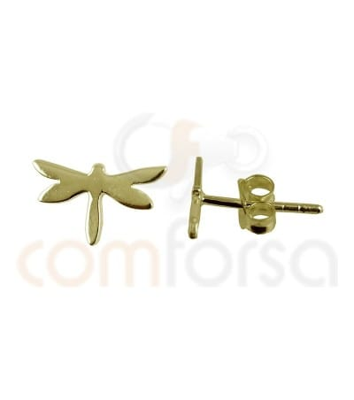 Gold plated Sterling silver 925ml Dragonfly earrings  9.3x5.4mm
