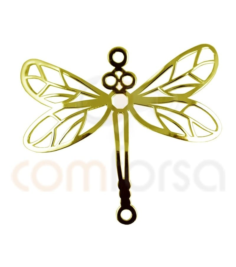 Gold plated Sterling silver dragonfly connector 20 x 22 mm