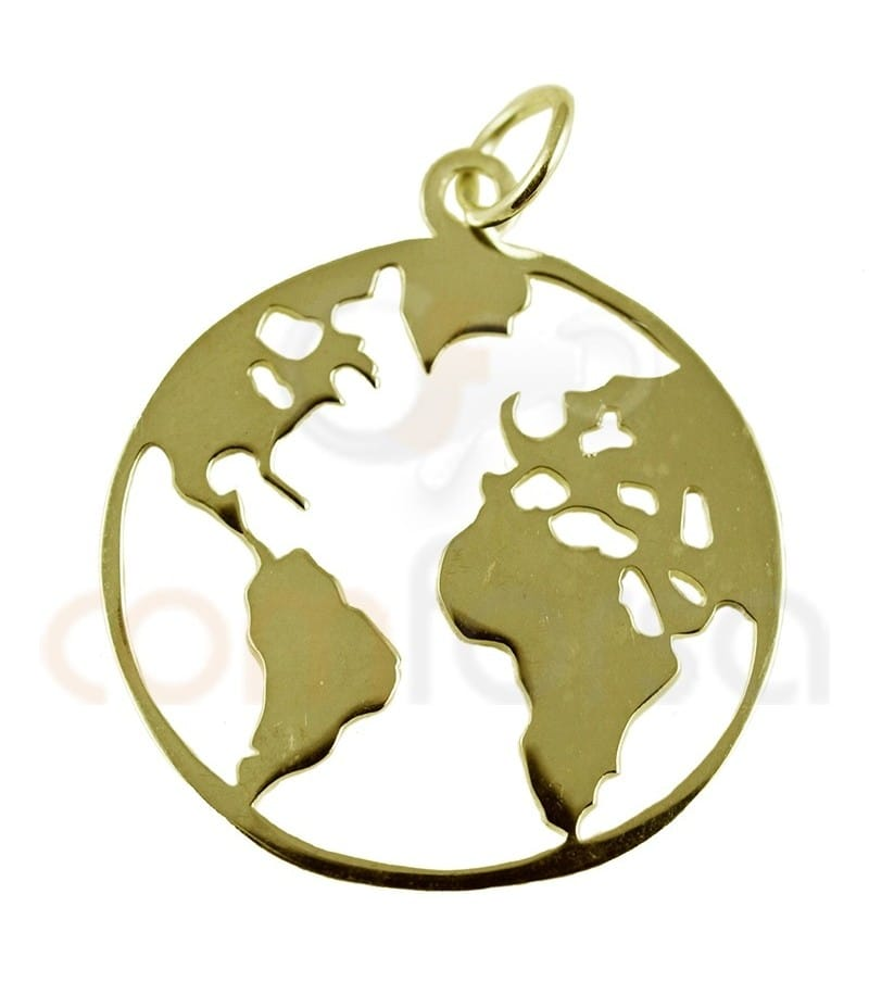 Gold plated Sterling silver 925ml world pendant
