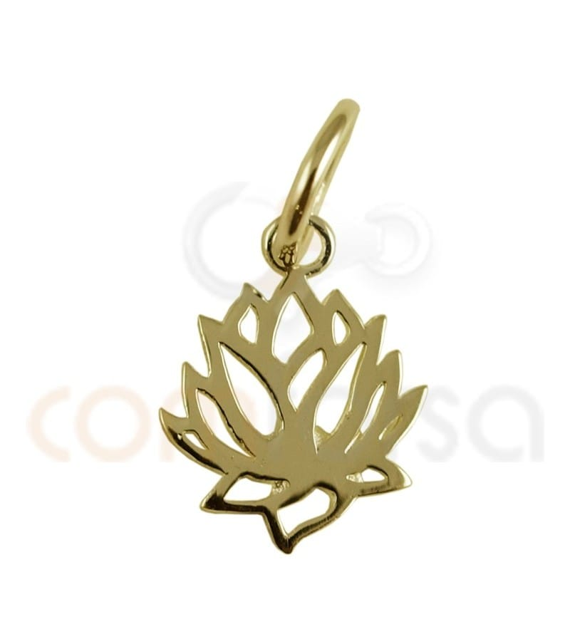 Gold plated Sterling silver lotus flower pendant 9x11.5mm