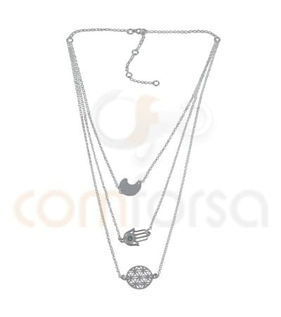 Sterling silver 925ml triple chain rolo with extender 6cm