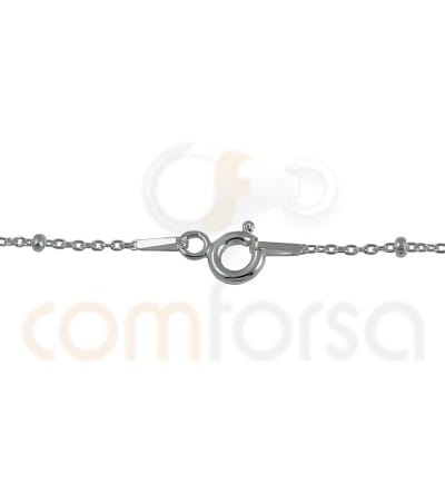 Sterling silver 925 curb chain with ball 1.2 mm