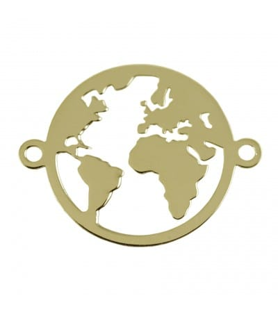 Entrepieza mundo 15 mm plata chapada en oro