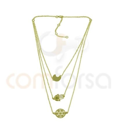 Gold plated Sterling silver 925ml triple chain rolo with extender 6cm