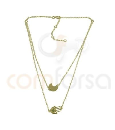 Gold plated Sterling silver 925ml double chain rolo with extender 6cm