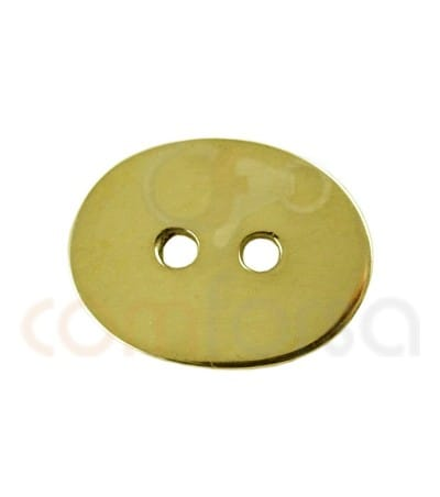 Gold plated Sterling silver 925ml double drilled oval 13 x 10 mm