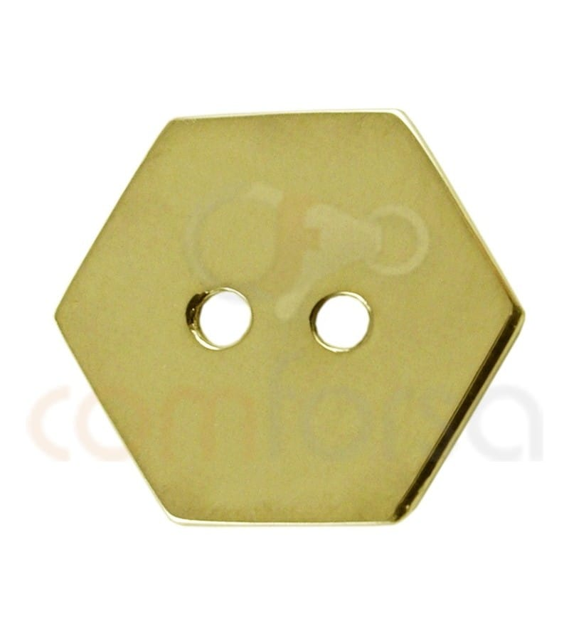 Gold plated Sterling silver 925ml double drilled Hexagon 12 mm