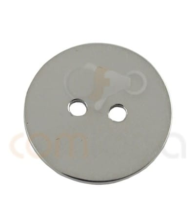 Double drilled circle  connector 13 mm Sterling silver 925