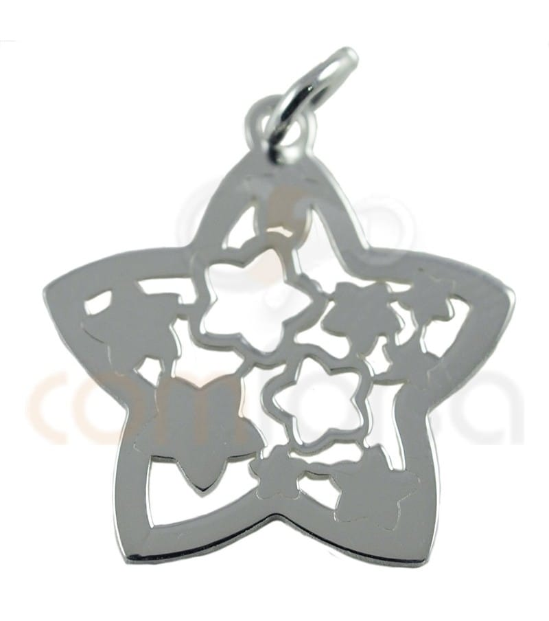 Colgante estrella con estrellas caladas en plata