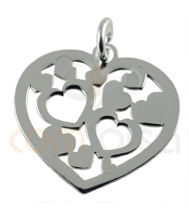 Sterling silver 925ml hear pendant with hollow hearts