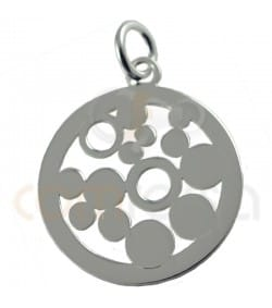 colgante circulo con circulos calados en plata