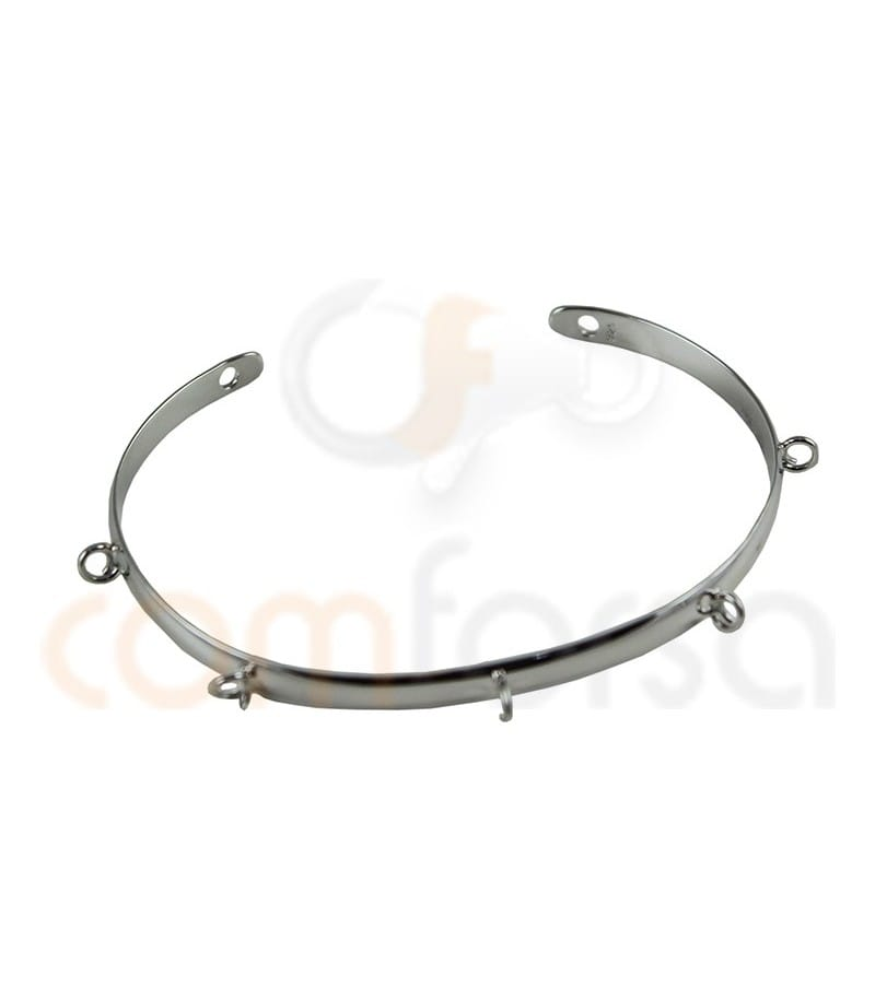 Sterling silver 925ml D shape bracelet with two jumprings