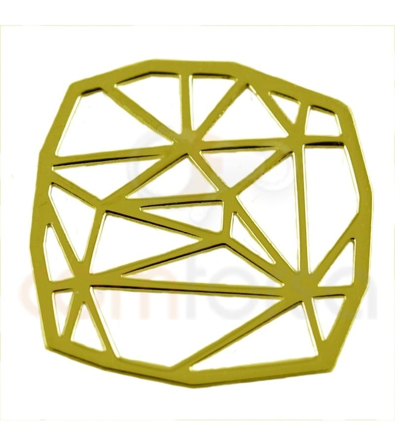 Gold plated Sterling silver 925ml square origami pendant 14 mm