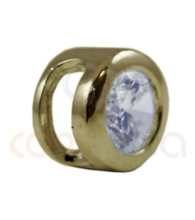 Gold plated Sterling silver 925ml round zirconia bead 5 mm