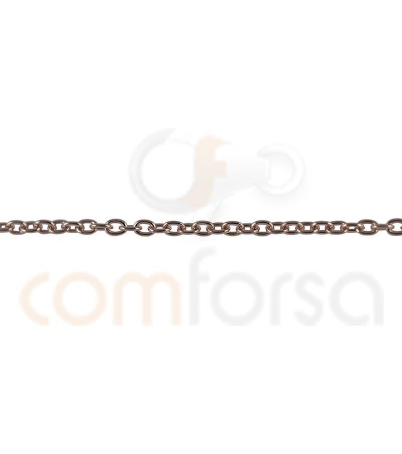 Cadena forzada 1.9 x 1.6mm plata chapada en oro rosa
