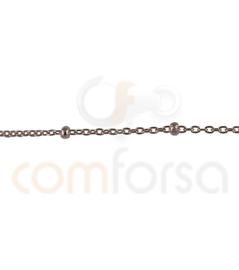 Cadena forzada con bola 50 cm plata chapada en oro rosa