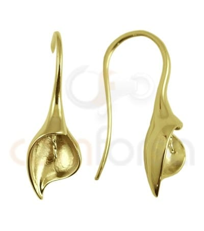 """Gold plated Sterling silver """"calla leaf"""" hook  5 x 26 mm"""
