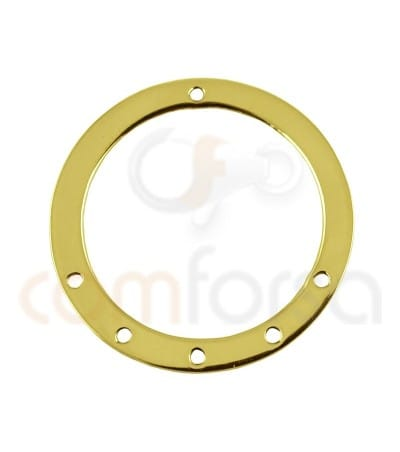 Sterling silver 925 Gold plated round pendant with holes  20 mm