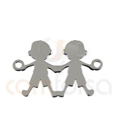 Entrepieza niño y niño 20 x 12 mm en plata