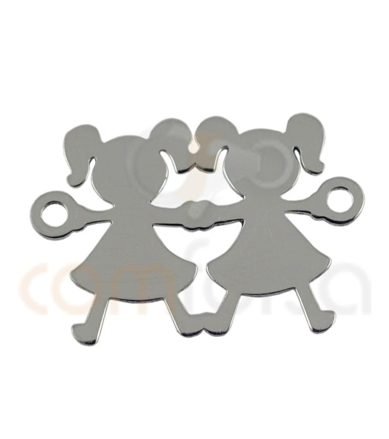 Sterling silver 925ml  girl and girl connector 20 x 12mm