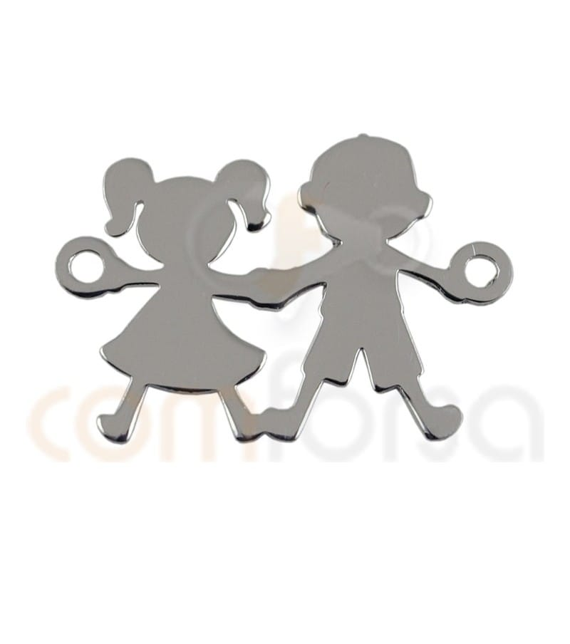 Sterling silver 925ml  boy and girl connector 20 x 12mm