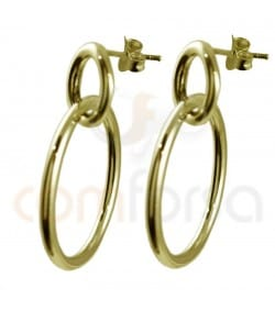 Gold plated Sterling silver double hoop earrings 12 and 25 mm
