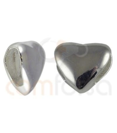 Sterling silver 925 heart spacer bead 7mm