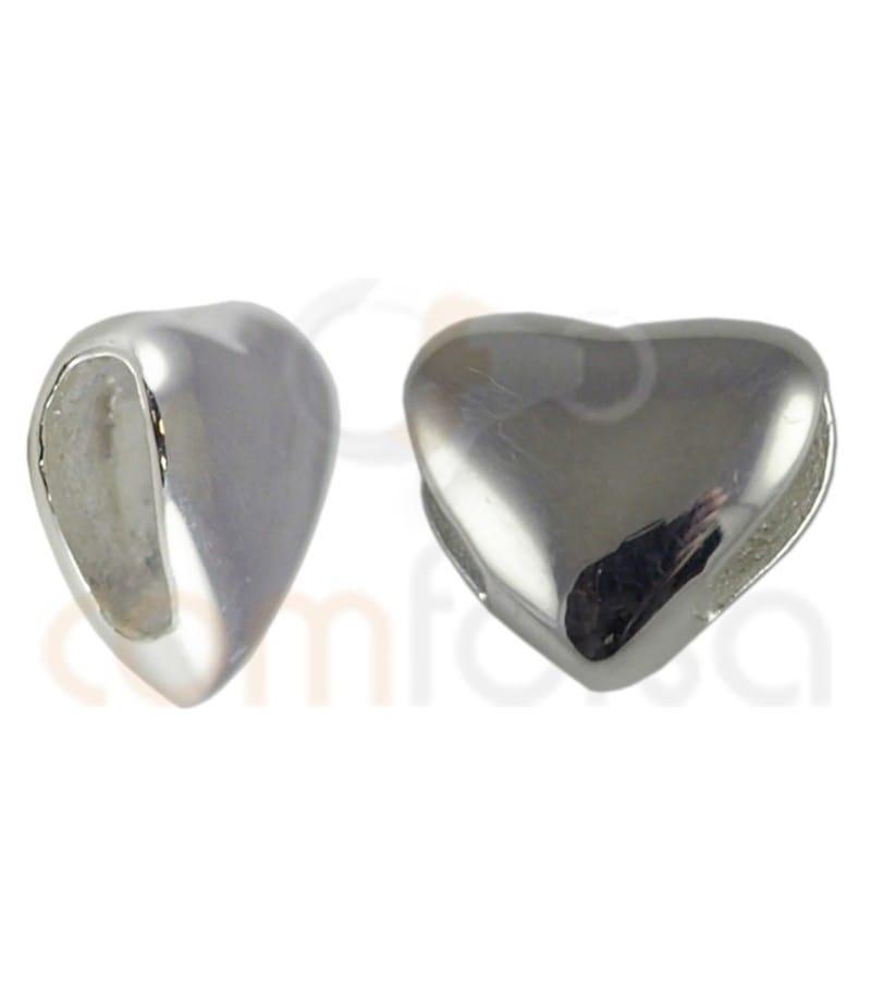 Entrepieza pasada corazón 7 x 7mm plata 925