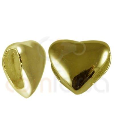 Entrepieza pasada corazón 7mm plata chapada en oro