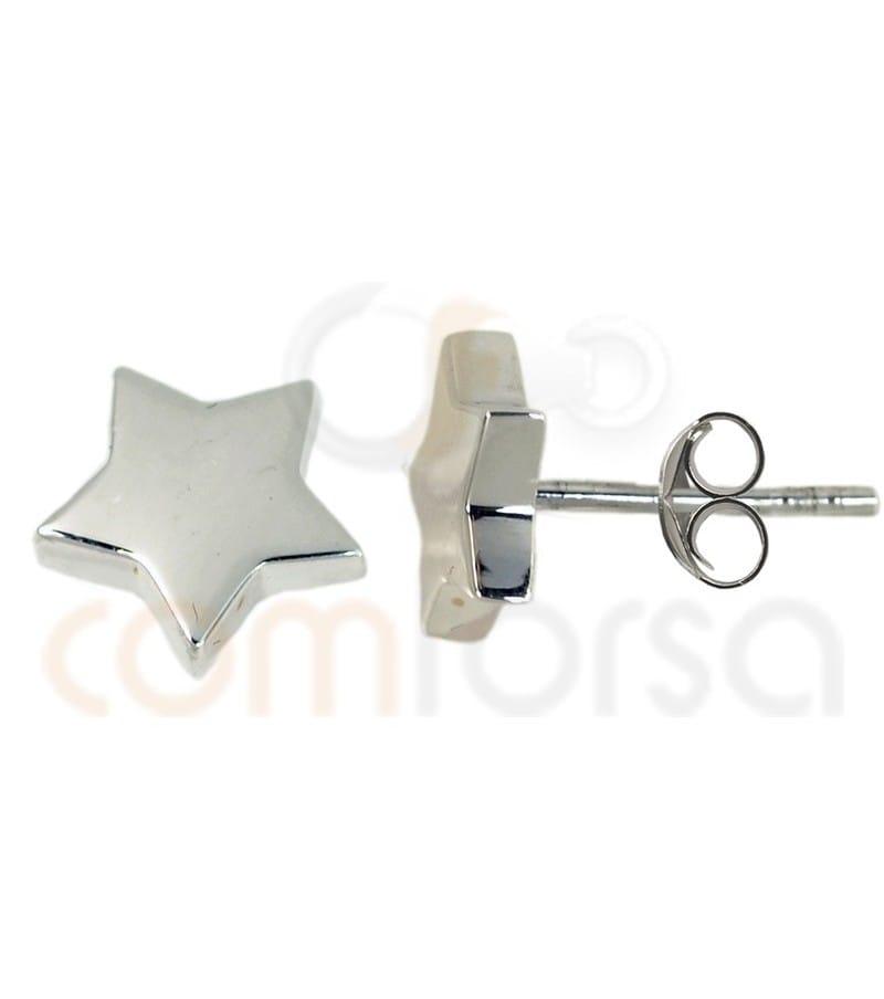 Sterling silver 925 star earrings 8.5 mm