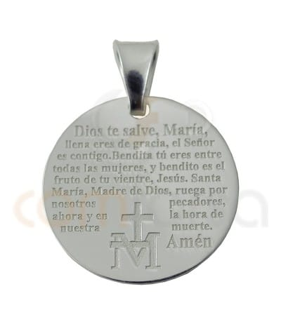 Sterling silver 925ml Ave Maria pendant in Spanish 20 mm