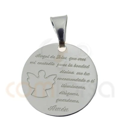 Sterling silver 925ml Angel of God pendant  in Spanish 20 mm