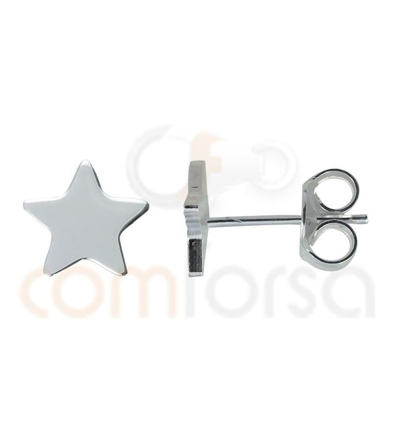 Pendiente estrella 8 mm plata 925
