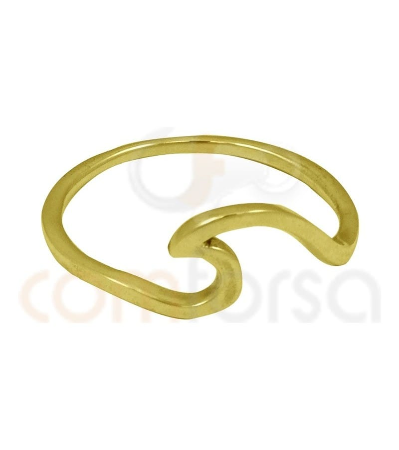 Sterling silver 925 gold plated wave ring