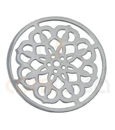 Mandala con Flores 15 mm plata 925