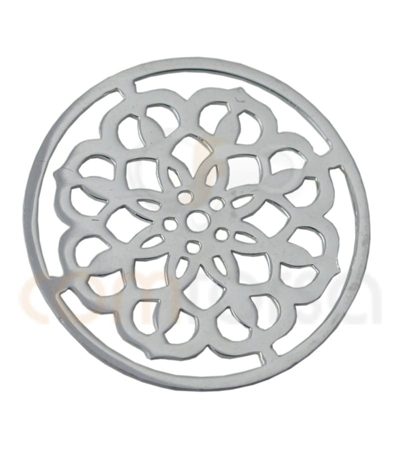 Sterling silver 925ml Mandala with flowers 15 mm