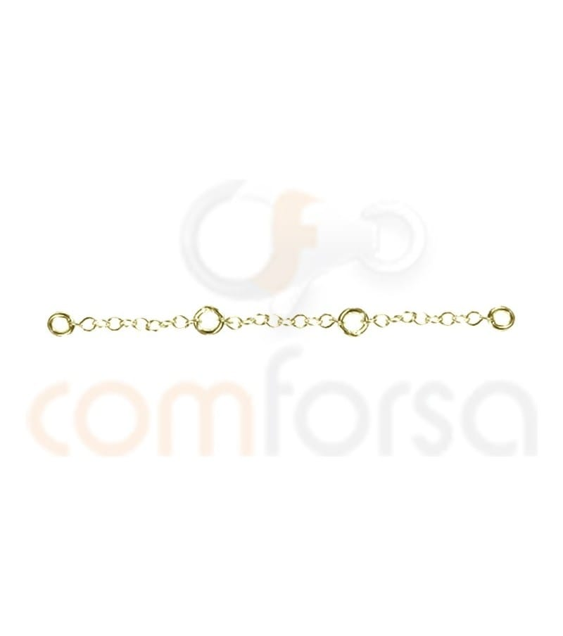 Gold plated sterling silver chain extender 60 mm