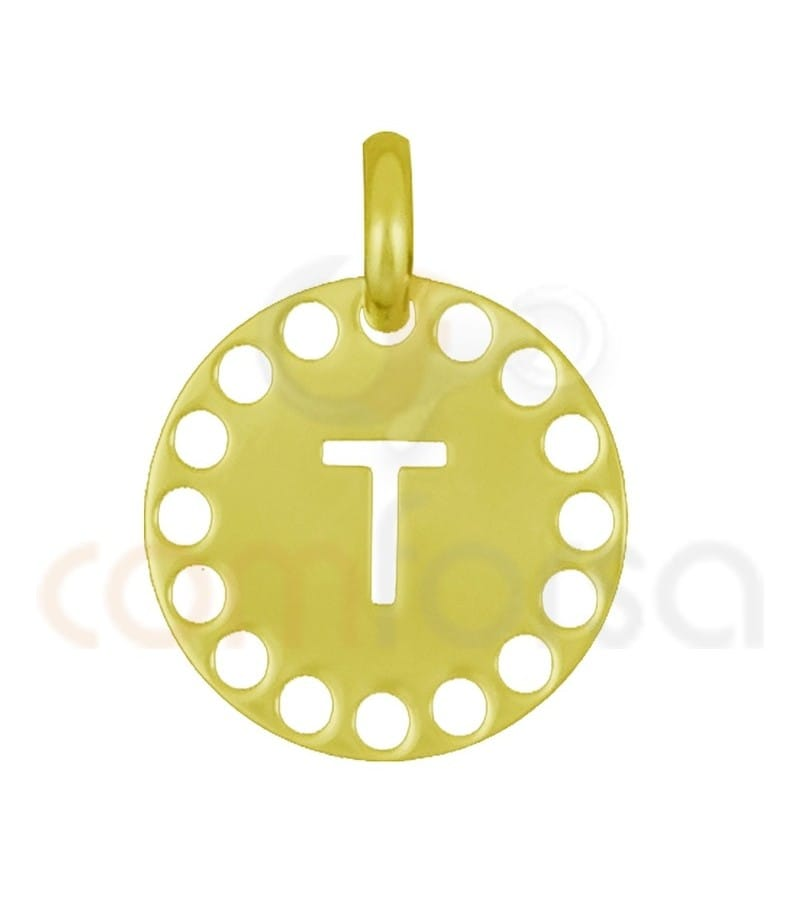 Gold plated Sterling silver 925ml die-cut letter T medallion 14 mm