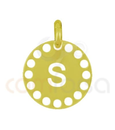 Gold plated Sterling silver 925ml die-cut letter S medallion 14 mm