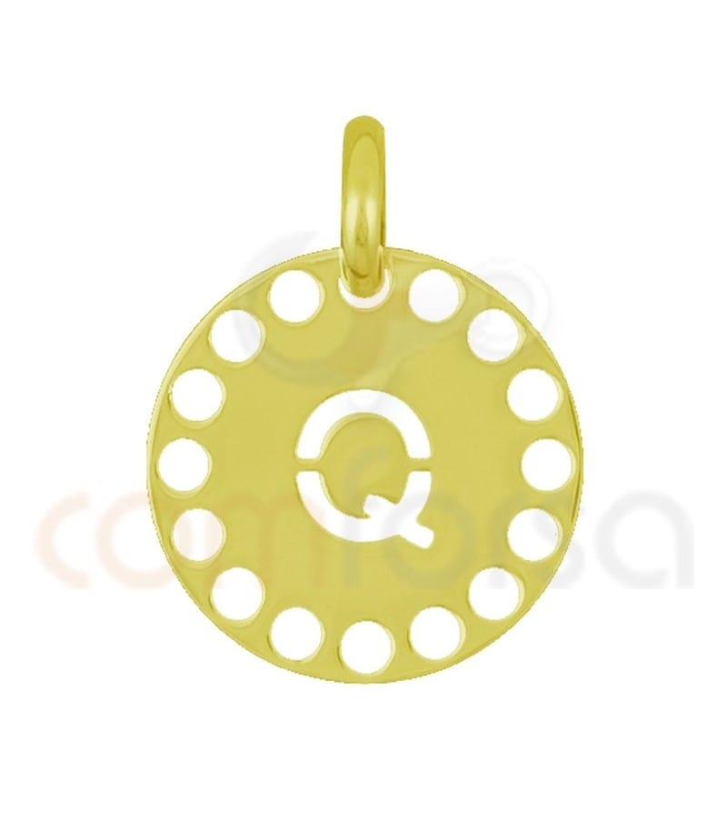 Gold plated Sterling silver 925ml die-cut letter Q medallion 14 mm