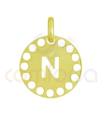 Gold plated Sterling silver 925ml die-cut letter N medallion 14 mm