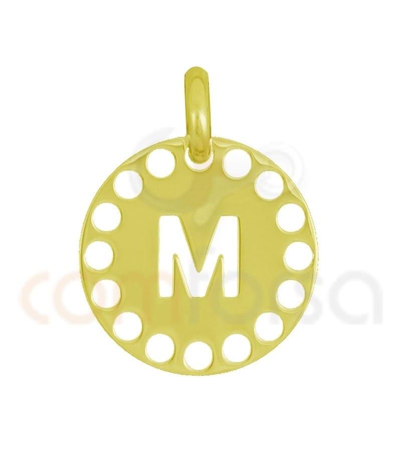 Gold plated Sterling silver 925ml die-cut letter M medallion 14 mm