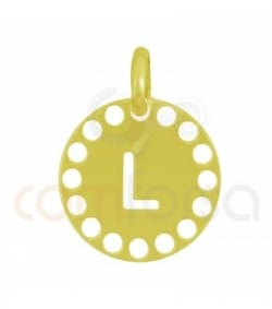 Gold plated Sterling silver 925ml die-cut letter L medallion 14 mm