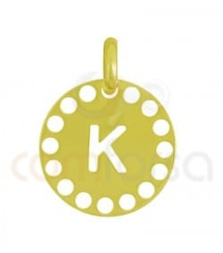 Gold plated Sterling silver 925ml die-cut letter K medallion 14 mm
