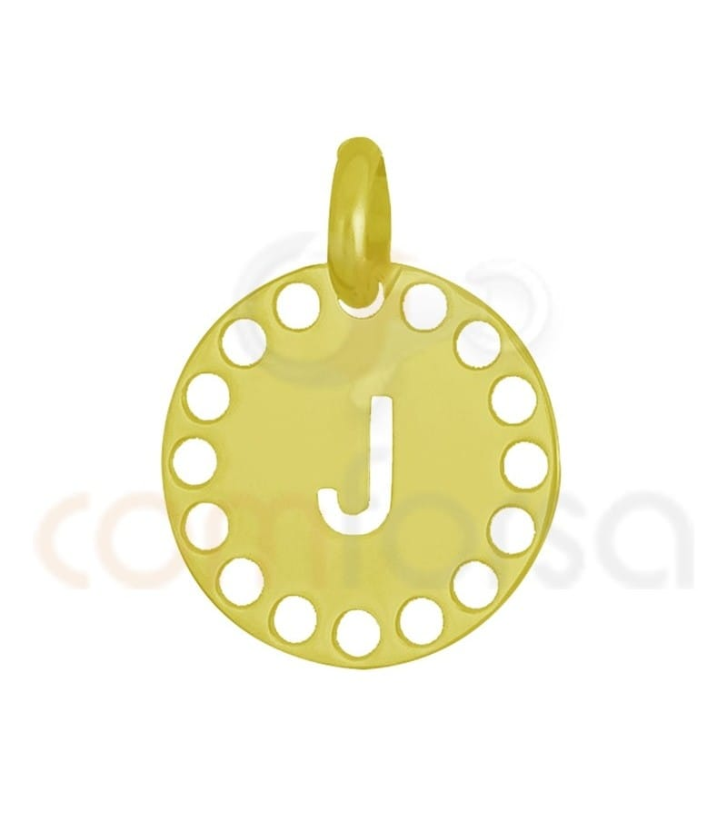 Gold plated Sterling silver 925ml die-cut letter J medallion 14 mm
