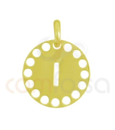 Gold plated Sterling silver 925ml die-cut letter I medallion 14 mm