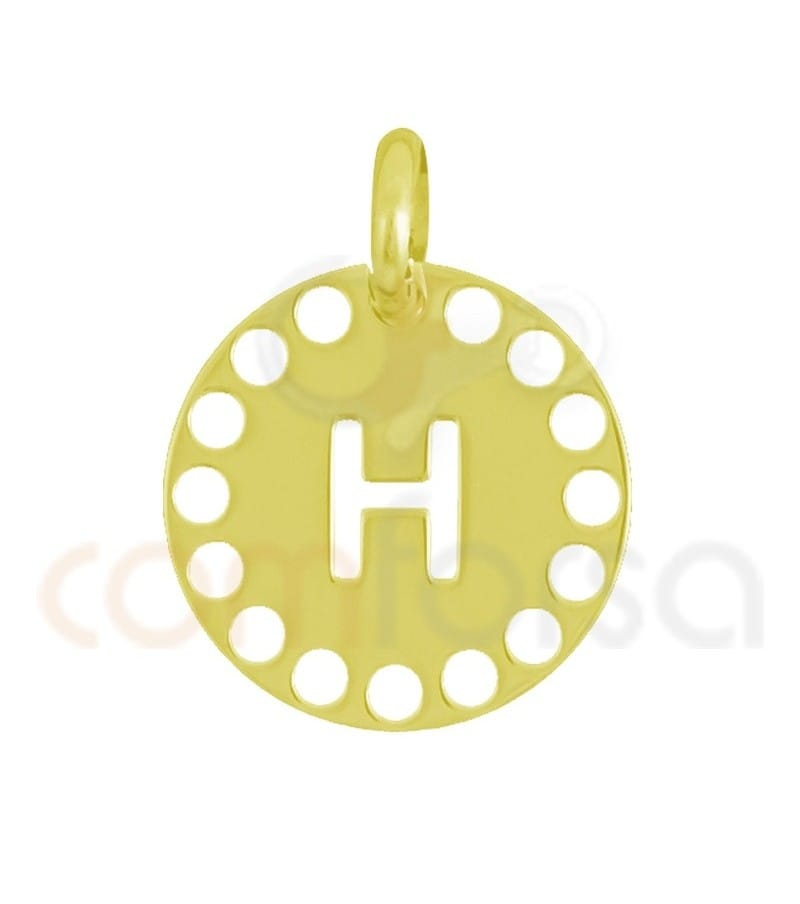 Gold plated Sterling silver 925ml die-cut letter H medallion 14 mm