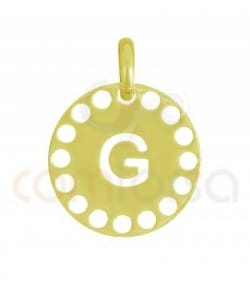 Gold plated Sterling silver 925ml die-cut letter G medallion 14 mm