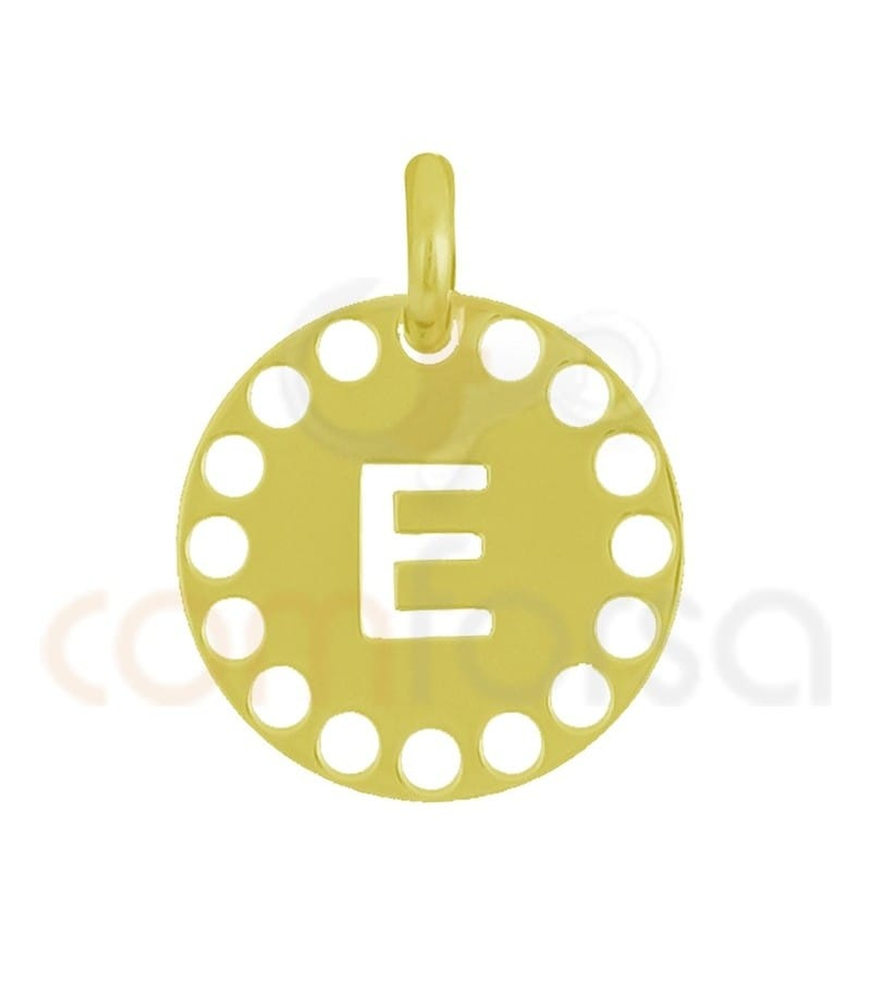 Gold plated Sterling silver 925ml die-cut letter E medallion 14 mm